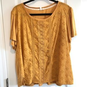 Maurices Gold Crochet Front Top